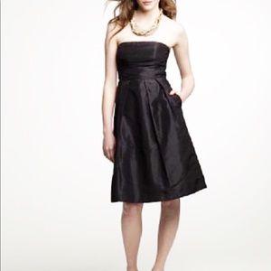 J. CREW Black Silk Taffeta Strapless Dress 10